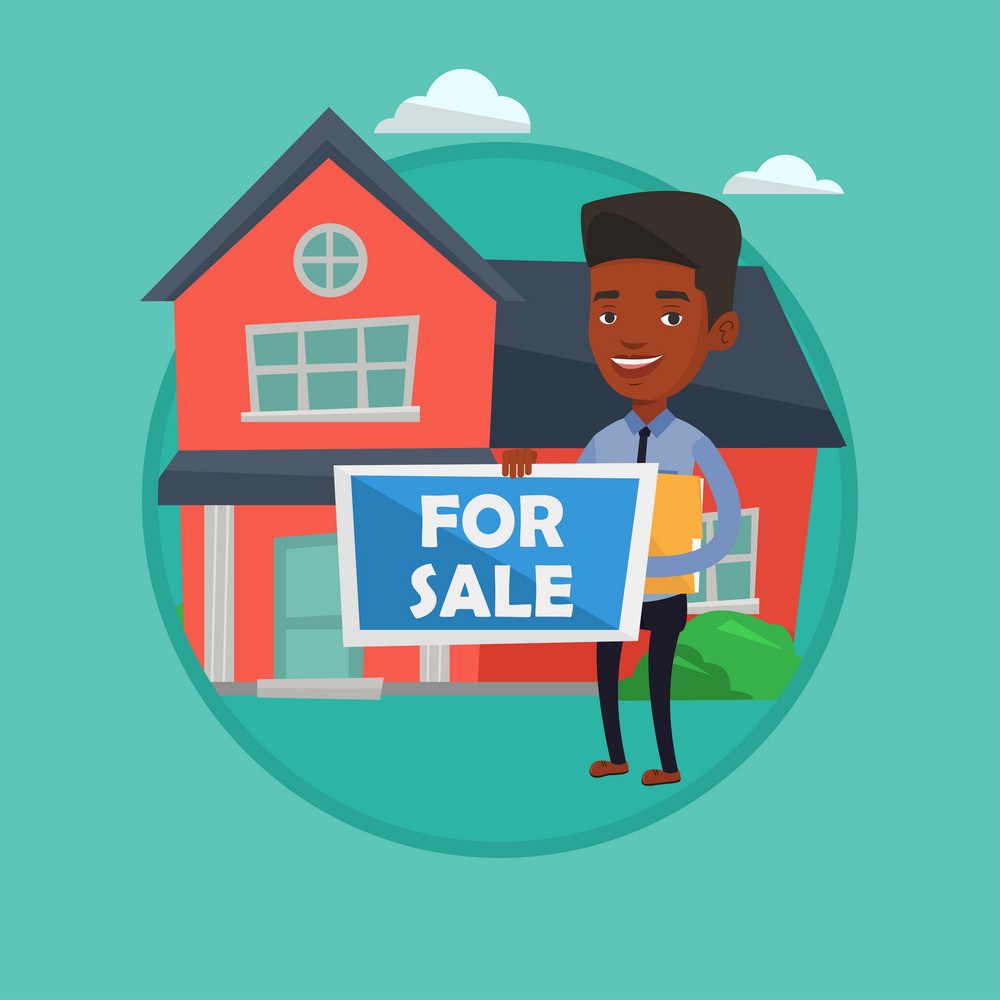 African realtor offering the house. Realtor with placard for sale and documents in hands standing on the background of house. Vector flat design illustration in the circle isolated on background.