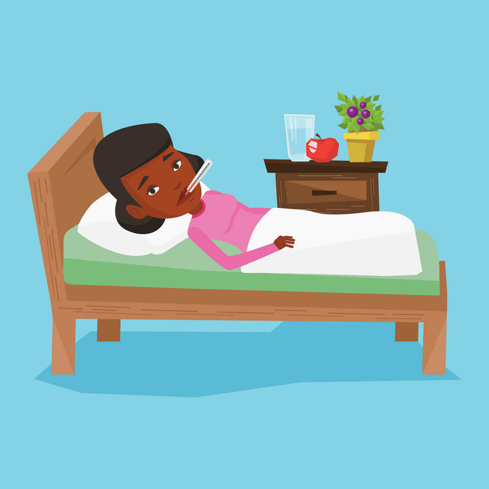 African sick woman with fever laying in bed. Sick woman measuring temperature with thermometer in mouth. Sick woman suffering from cold or flu virus. Vector flat design illustration. Square layout.