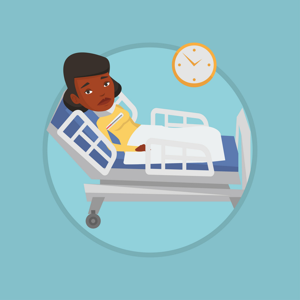 African sick woman with fever laying in bed. Sick woman measuring temperature with thermometer. Sick woman suffering from flu virus. Vector flat design illustration in circle isolated on background.