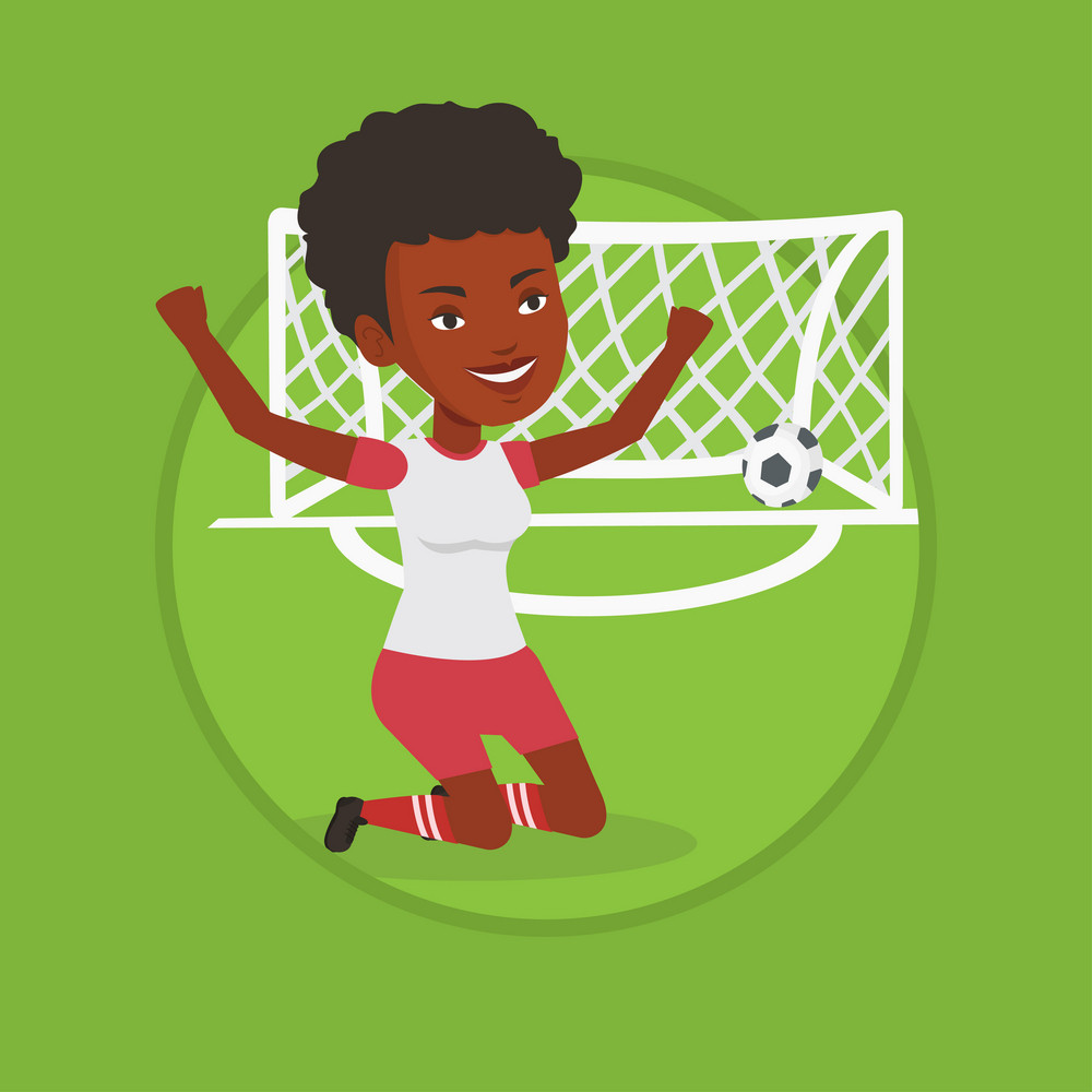 African soccer player celebrating scoring goal. Football player kneeling with raised arms on the background of gate with ball. Vector flat design illustration in the circle isolated on background.