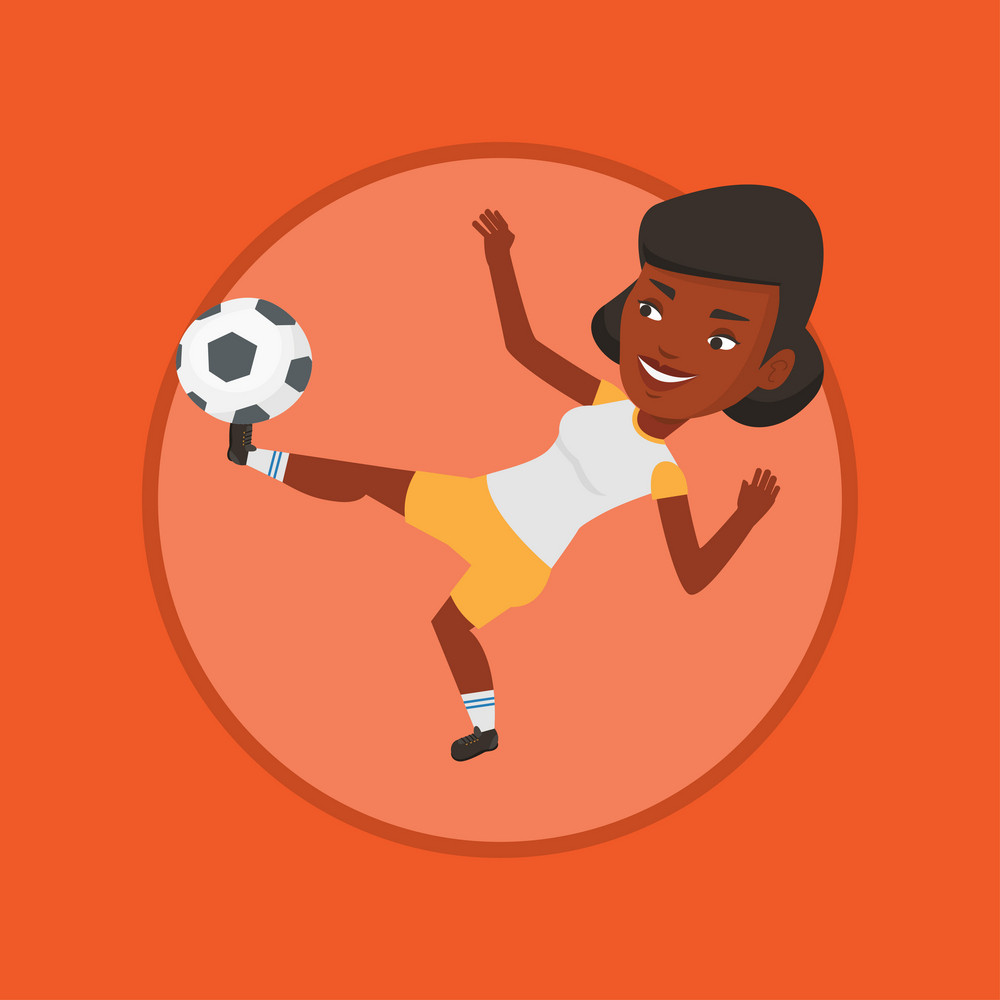 African soccer player kicking ball during game. Soccer player juggling with a ball. Football player playing with soccer ball. Vector flat design illustration in the circle isolated on background.