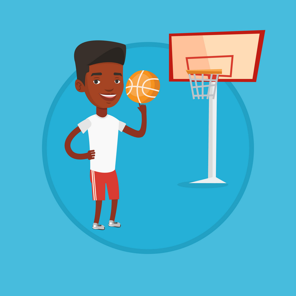 African sportsman spinning basketball ball on finger. Young basketball player standing on the court. Basketball player in action. Vector flat design illustration in the circle isolated on background.