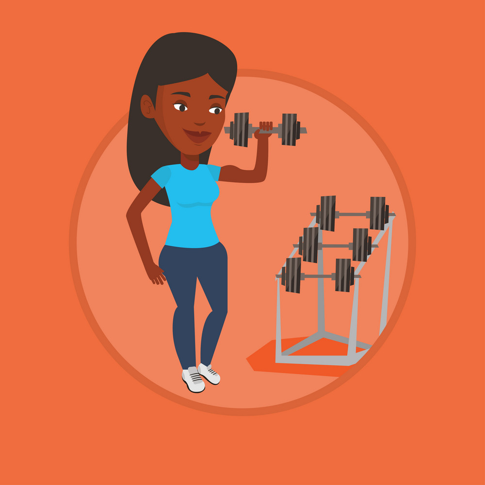 African sportswoman doing exercise with dumbbell. Woman lifting heavy weight dumbbell. Weightlifter holding dumbbell in the gym. Vector flat design illustration in the circle isolated on background.