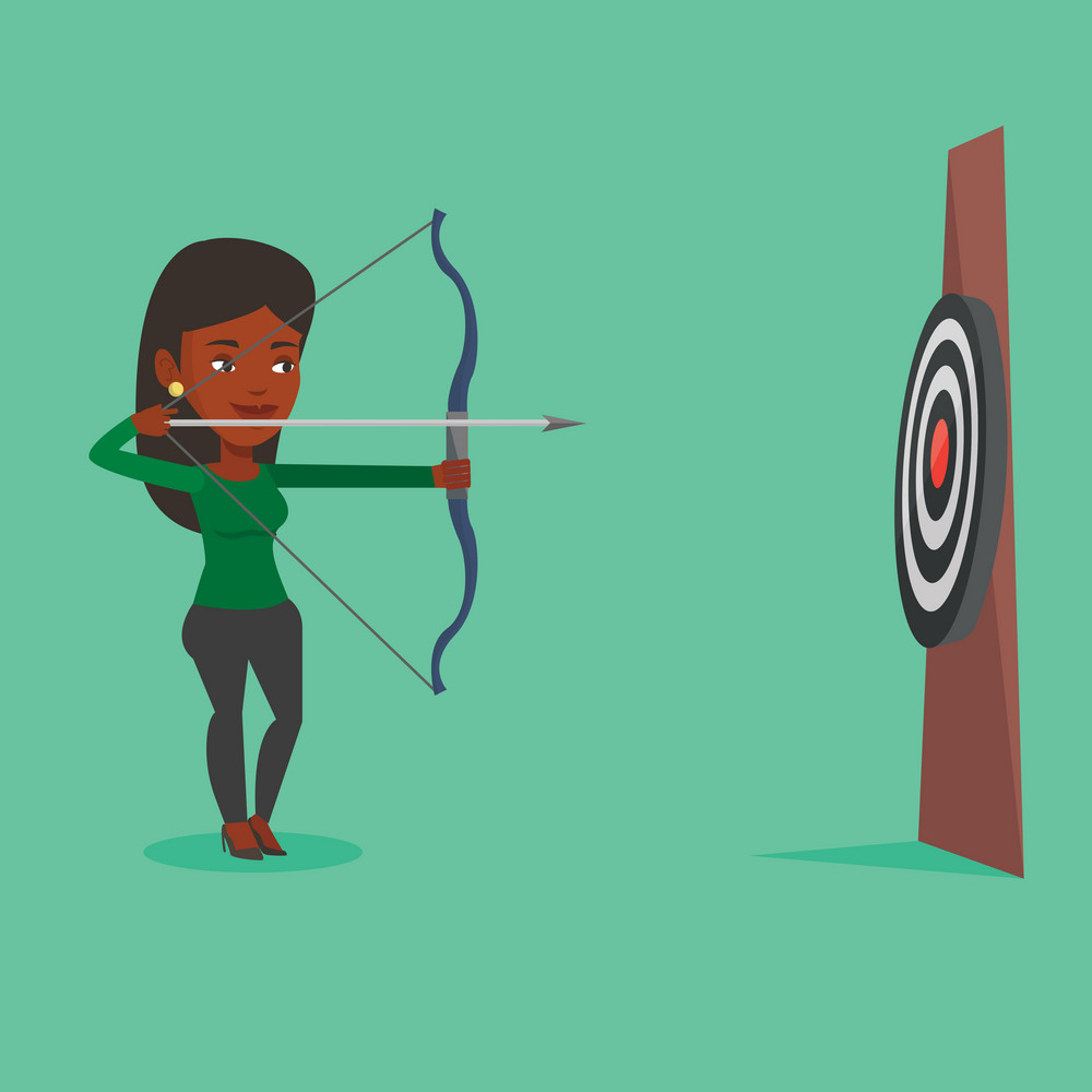 African sportswoman shooting with bows during archery competition. Sportswoman aiming with bow and arrow at the target. Sportswoman practicing with bow. Vector flat design illustration. Square layout.