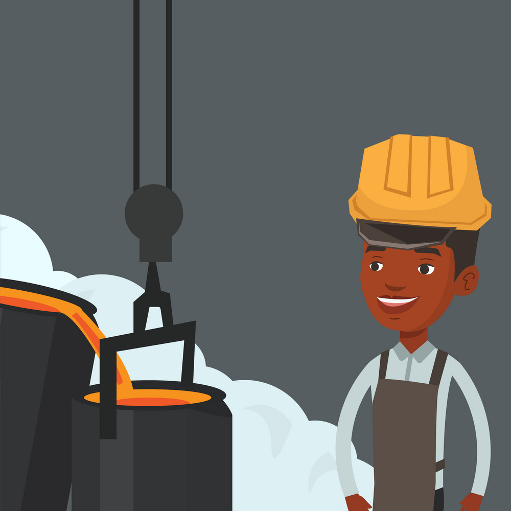 African steelworker in a hardhat at work in the foundry. Steelworker controlling iron smelting in the foundry. Industrial worker in steel making plant. Vector flat design illustration. Square layout
