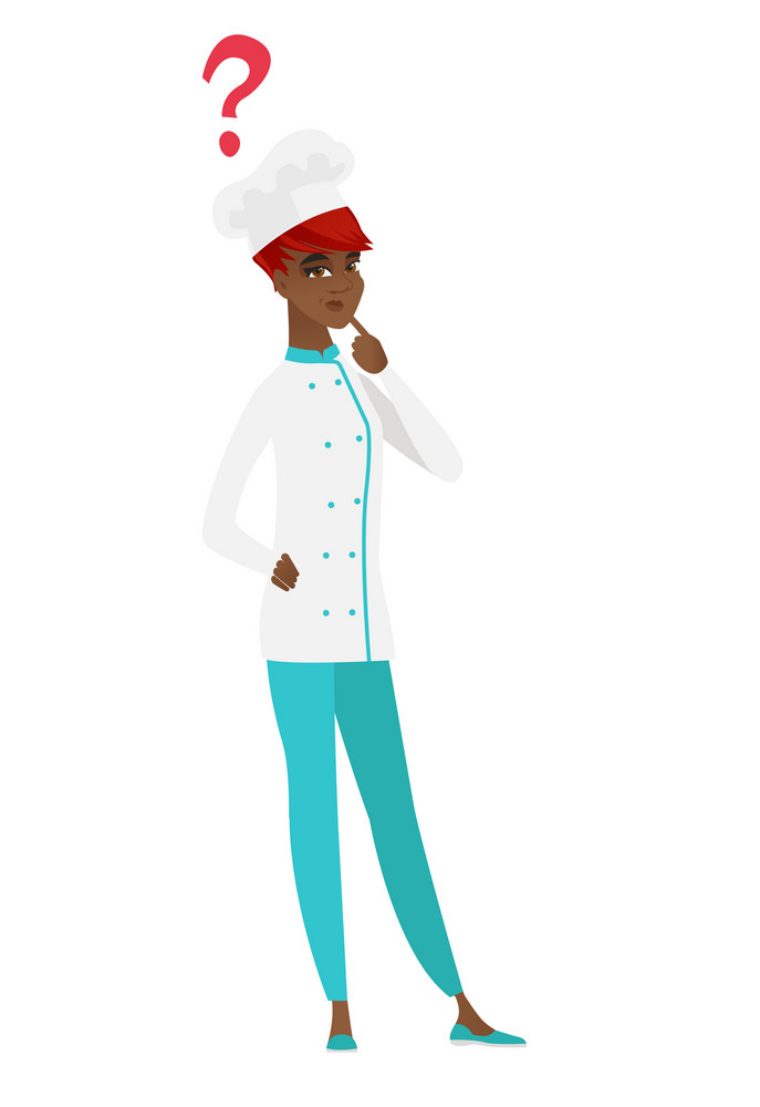 African thinking chef cook with question mark. Thoughtful chef cook with question mark. Chef cook looking at question mark above her head. Vector flat design illustration isolated on white background.