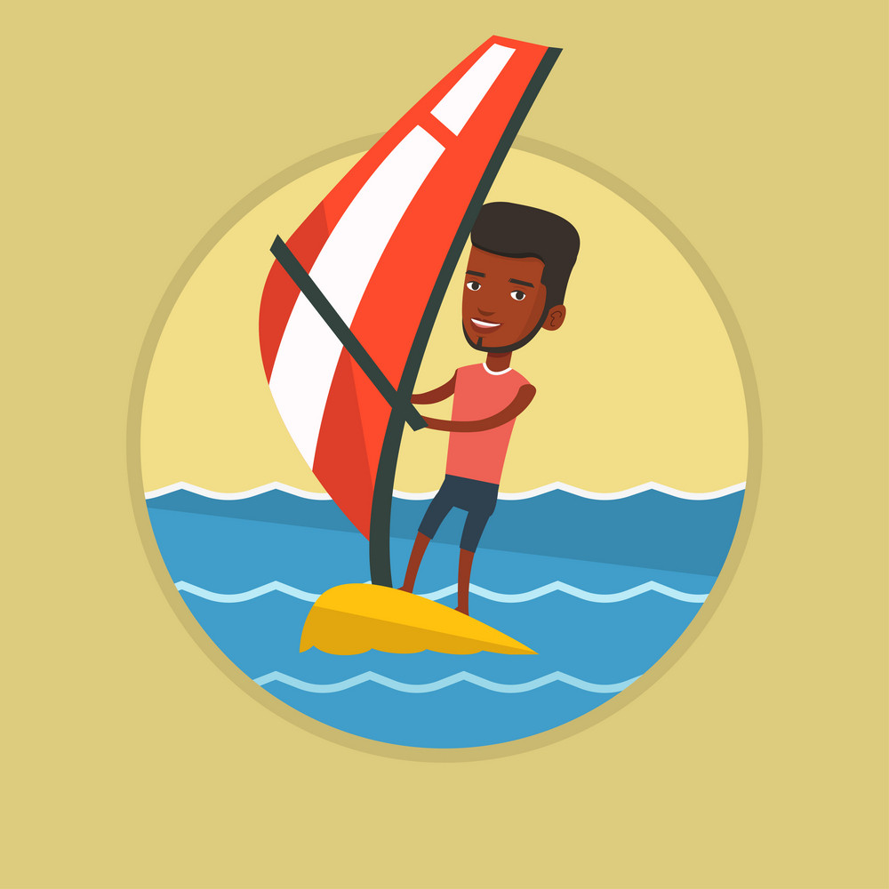 African windsurfer windsurfing on board with sail. Windsurfer standing on board with sail for surfing. Man learning to windsurf. Vector flat design illustration in the circle isolated on background.