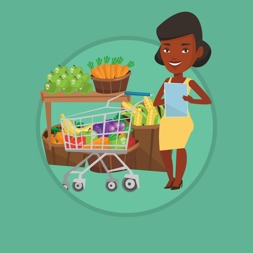 African woman checking shopping list. Woman holding shopping list near trolley with products. Woman writing in shopping list. Vector flat design illustration in the circle isolated on background.