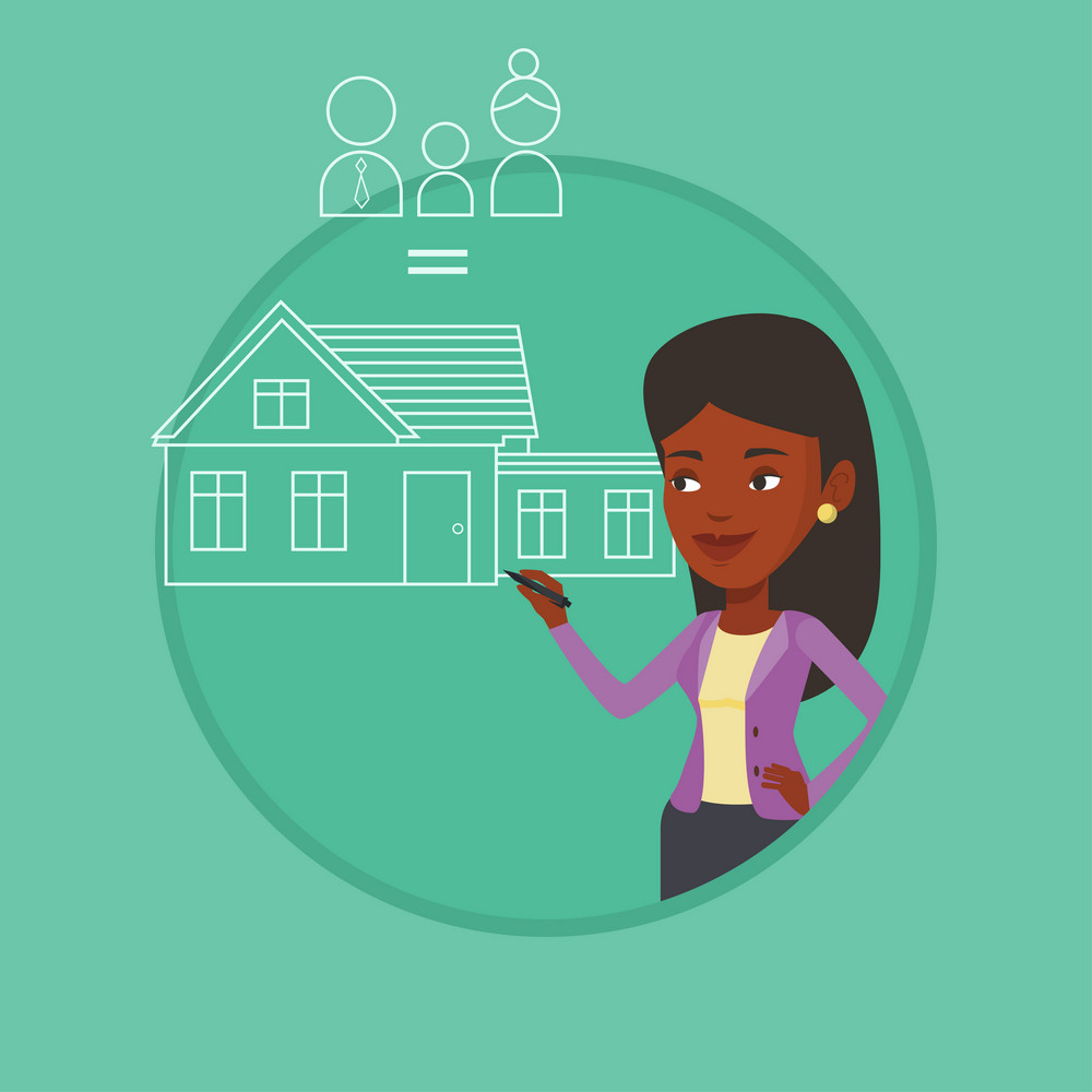 African woman drawing family house. Woman drawing a house with a family. Woman dreaming about future life in a new family house. Vector flat design illustration in the circle isolated on background.