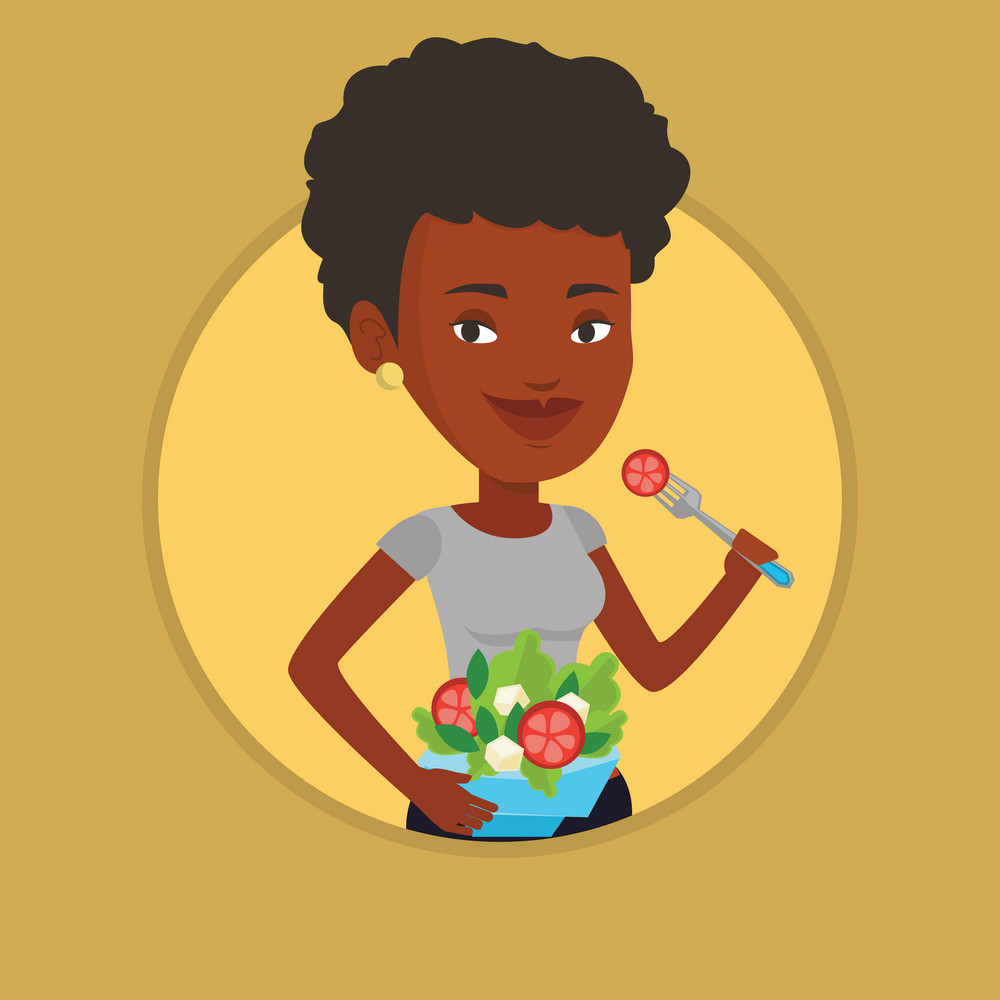 African woman eating healthy vegetable salad. Woman enjoying vegetable salad. Woman holding fork and bowl with vegetable salad. Vector flat design illustration in the circle isolated on background.