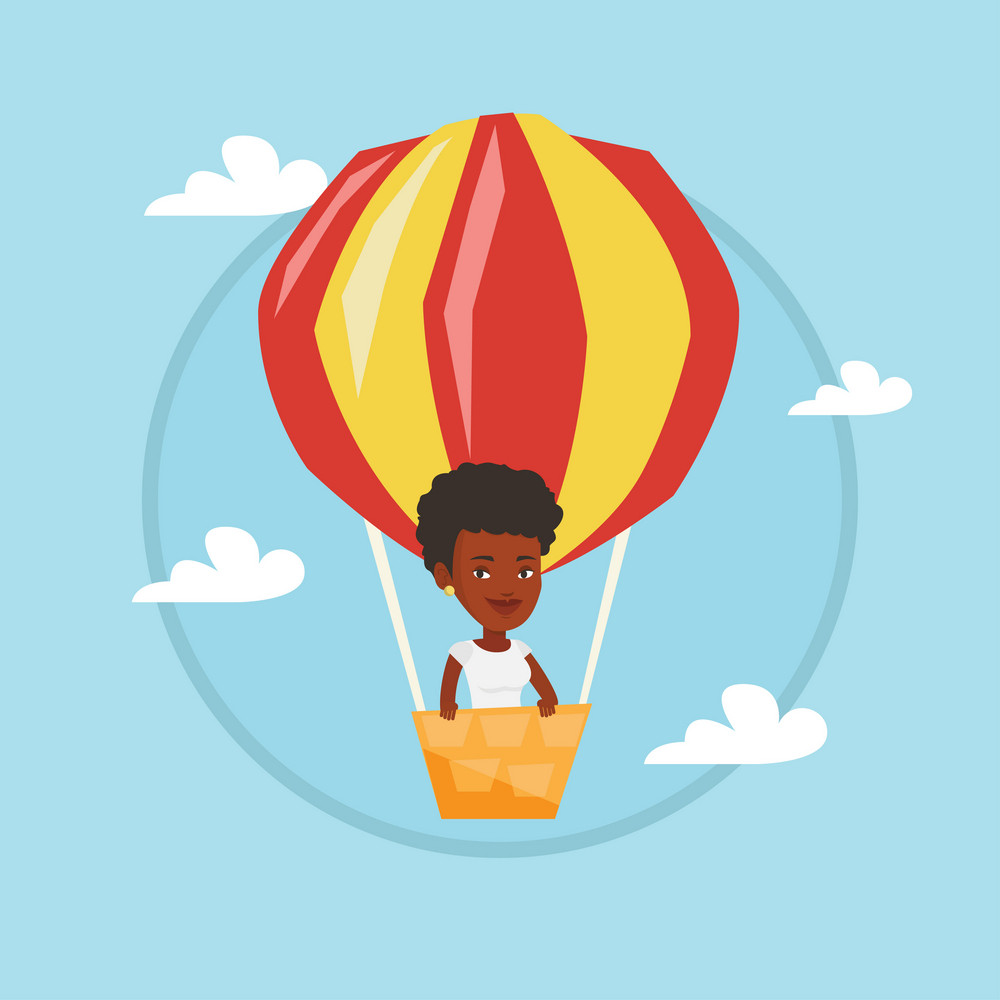 African woman flying in a hot air balloon. Woman standing in the basket of hot air balloon. Woman traveling in hot air balloon. Vector flat design illustration in the circle isolated on background.