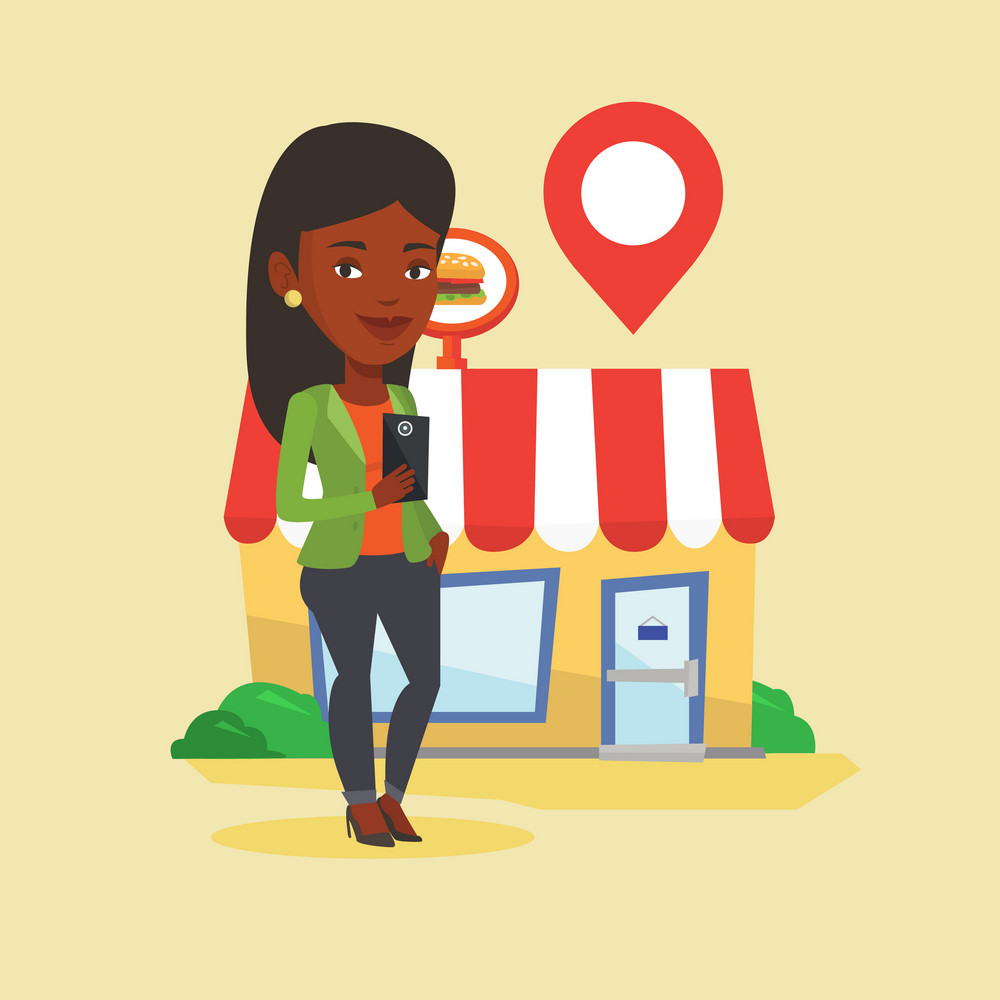 African woman holding smartphone with mobile application for looking for restaurant. Woman using smartphone application for searching of restaurant. Vector flat design illustration. Square layout.