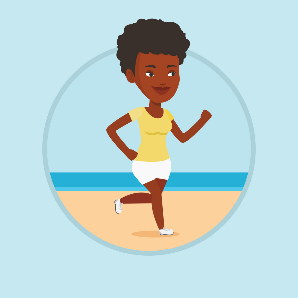 African woman jogging on beach. Athlete running on the beach. Woman running along the seashore. Woman enjoying jogging on beach. Vector flat design illustration in the circle isolated on background.