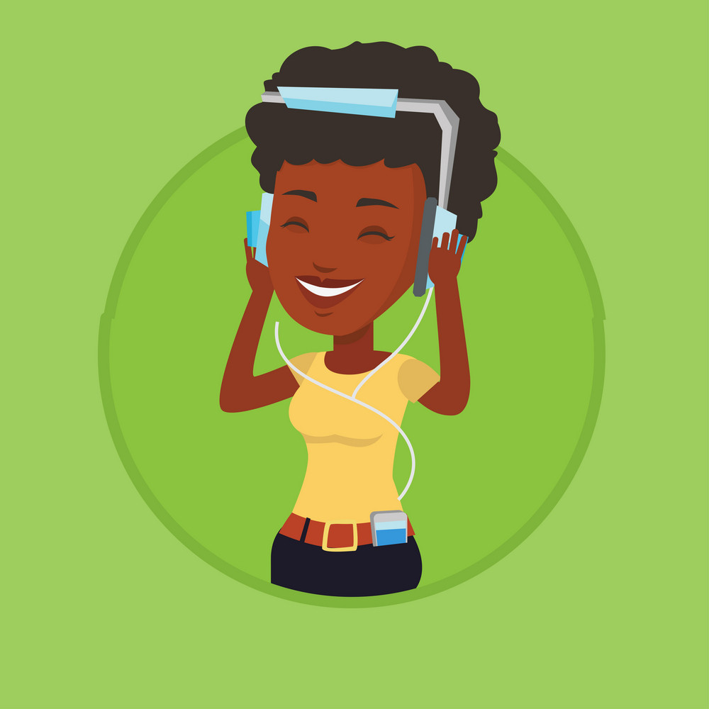 African woman listening to music on smartphone. Woman in headphones listening to music. Woman with eyes closed enjoying music. Vector flat design illustration in the circle isolated on background.