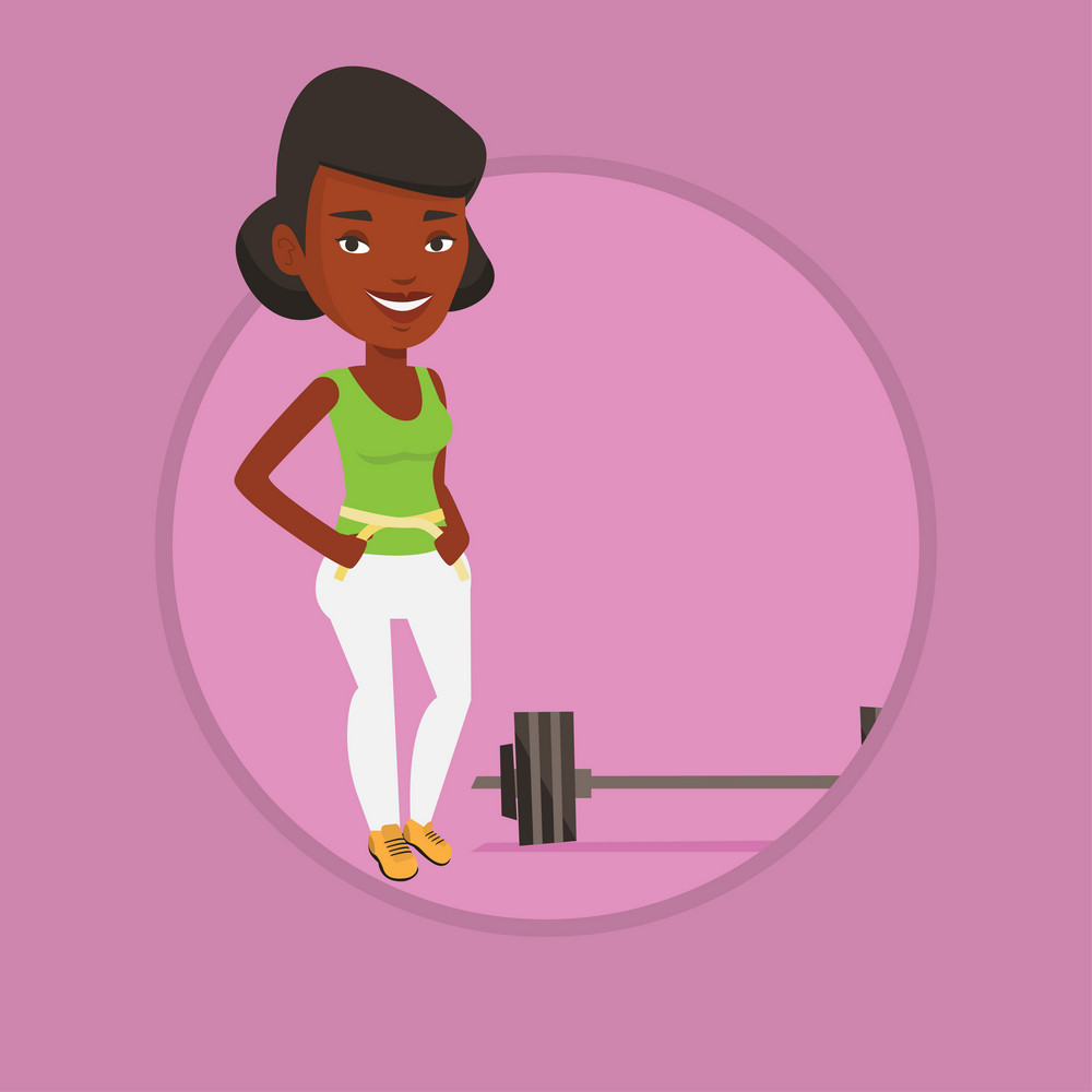 African woman measuring her waistline with a tape. Woman measuring with tape the waistline. Woman with centimeter on a waistline. Vector flat design illustration in the circle isolated on background.