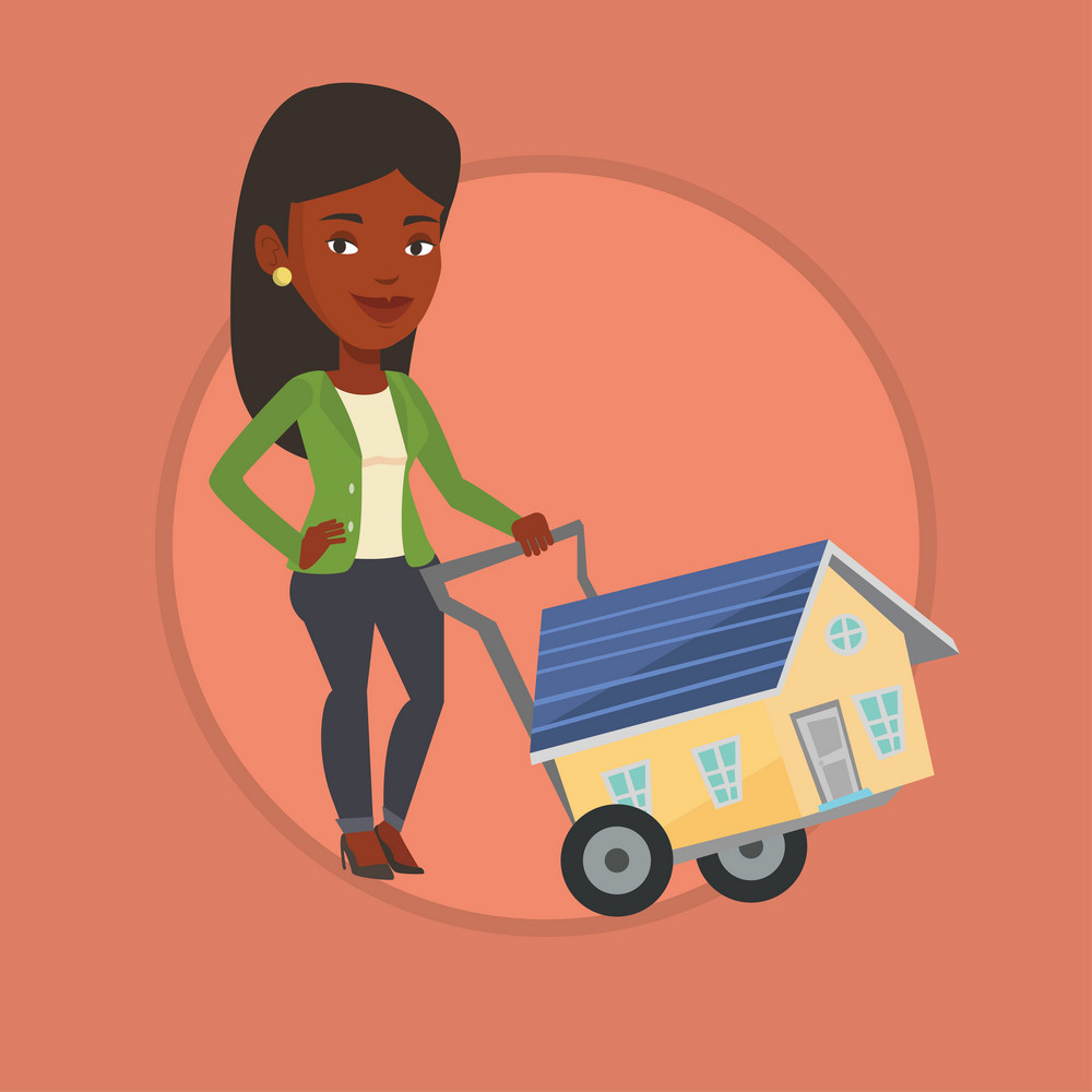 African woman pushing a shopping trolley with a house. Young woman buying house. Woman using shopping trolley to transport a house. Vector flat design illustration in the circle isolated on background