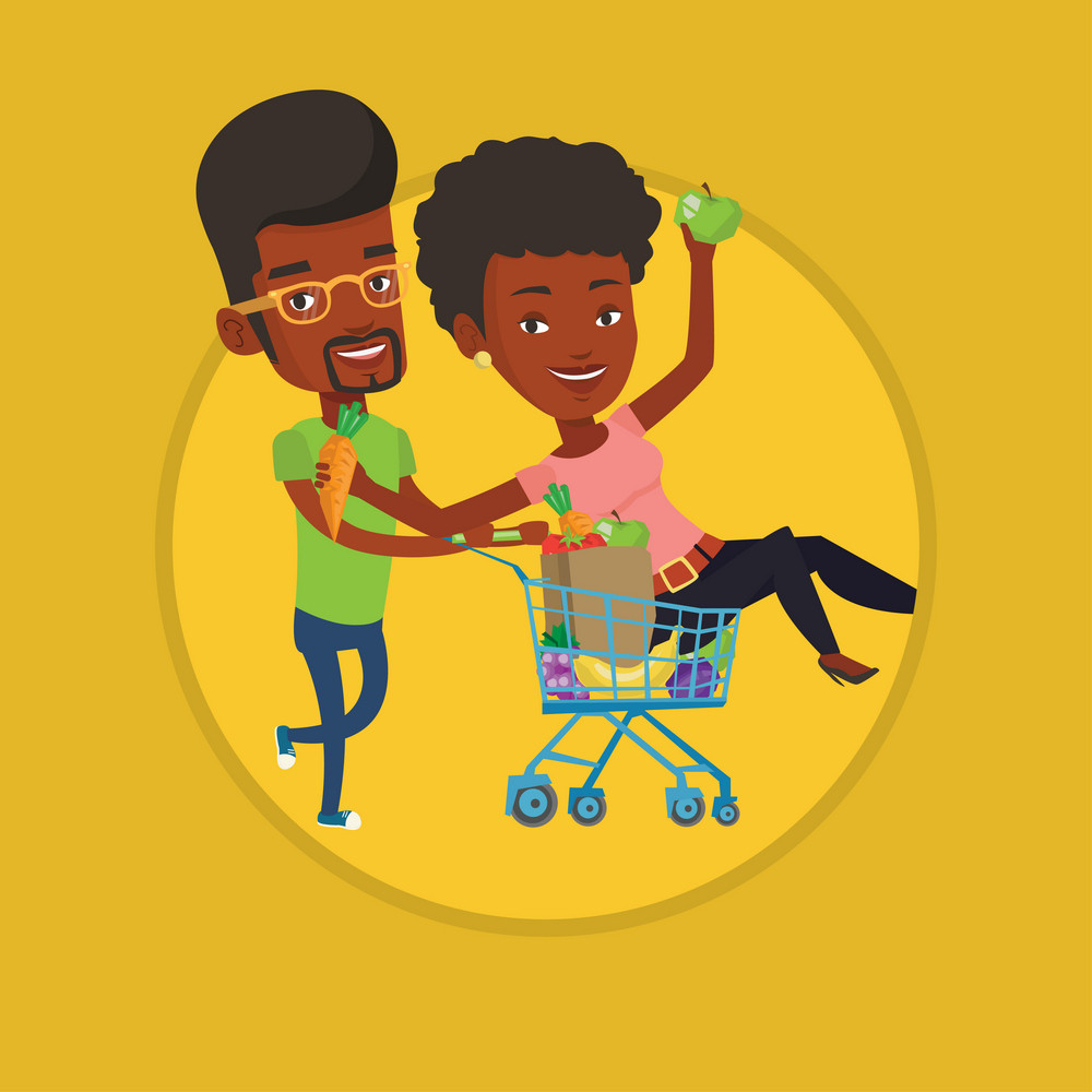 African woman pushing a shopping trolley with her friend. Couple of carefree friends having fun while riding by shopping trolley. Vector flat design illustration in the circle isolated on background