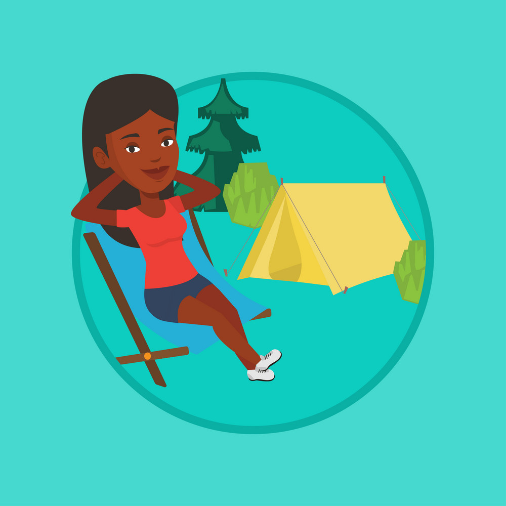 African woman relaxing in camping. Woman sitting in chair on the background of camping site. Woman enjoying vacation in camping. Vector flat design illustration in the circle isolated on background.