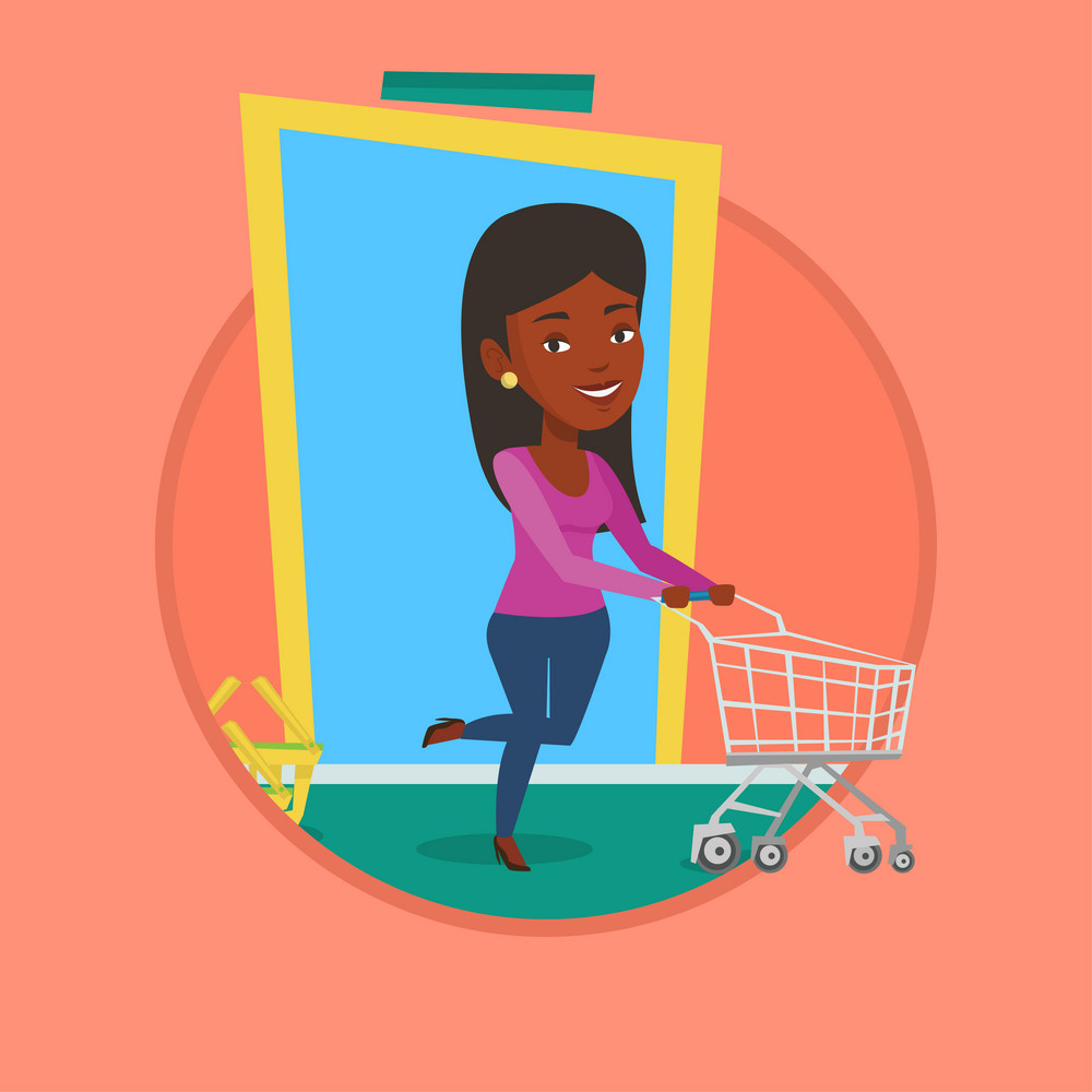 African woman running into the shop with shopping trolley. Woman rushing to shopping. Customer pushing an empty shopping trolley. Vector flat design illustration in the circle isolated on background