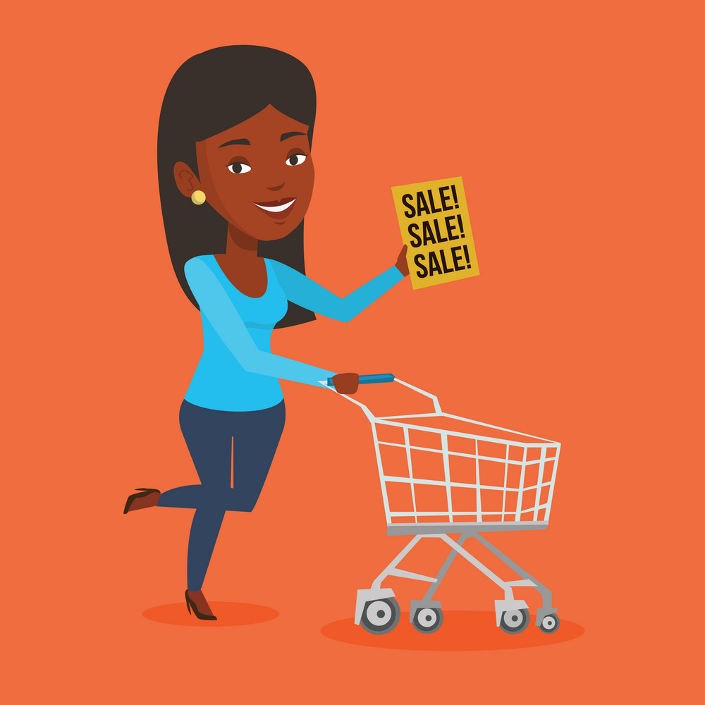 African woman running on big sale. Woman holding paper sheet with sale text. Woman with empty shopping trolley running in hurry to the store on sale. Vector flat design illustration. Square layout.