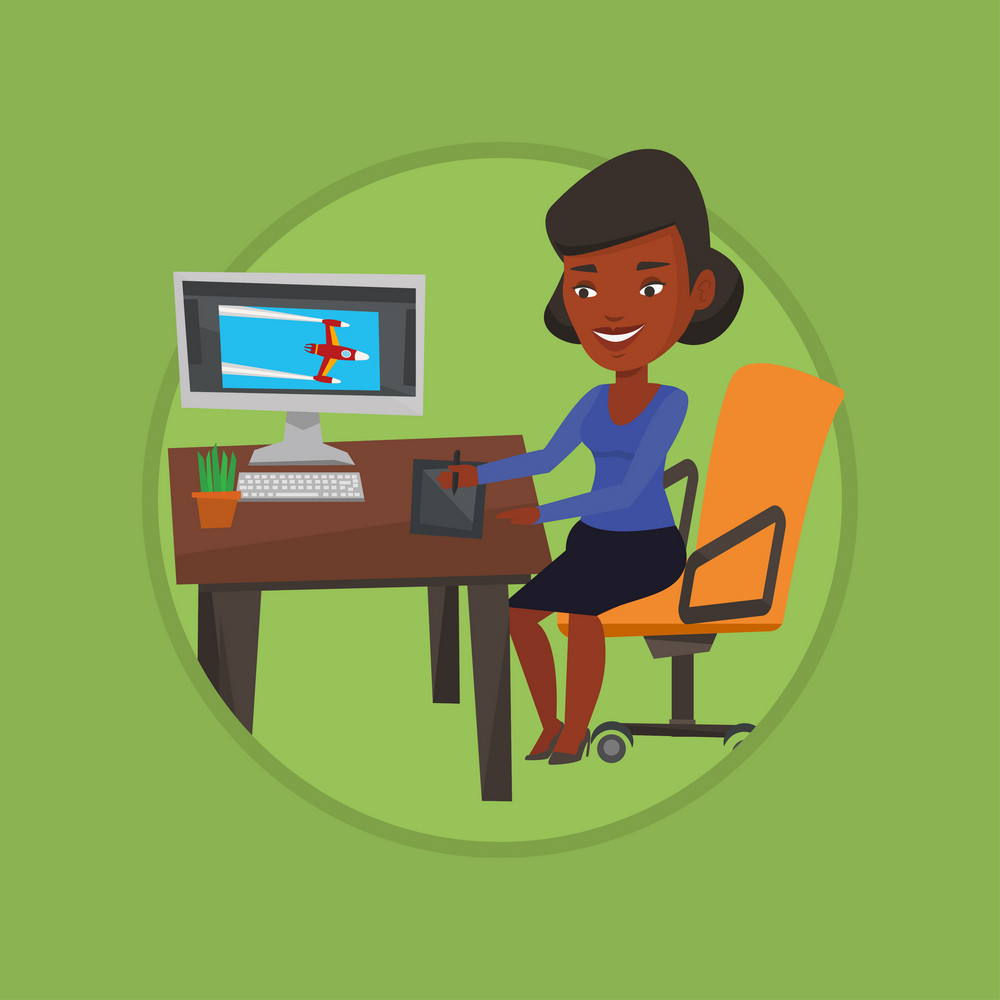 African woman sitting at desk and drawing on graphics tablet. Graphic designer using a digital graphics tablet, computer and pen. Vector flat design illustration in the circle isolated on background