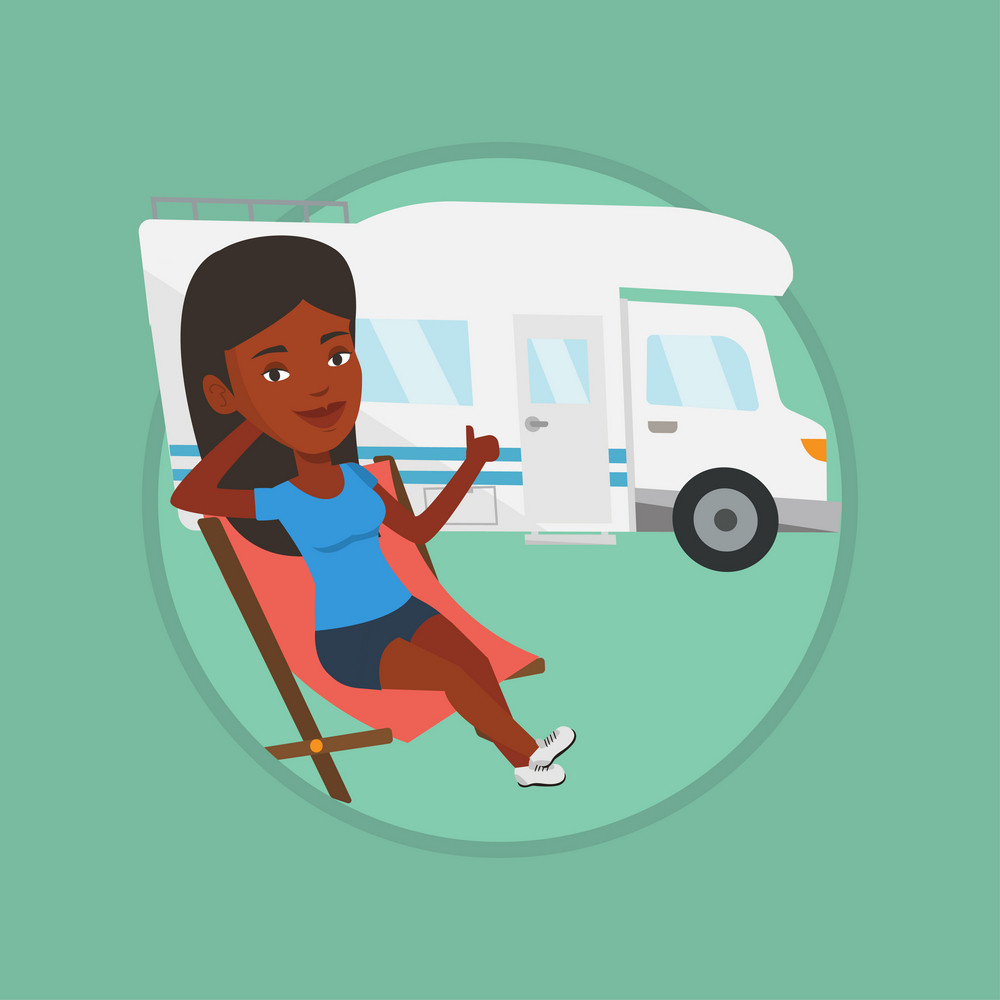 African woman sitting in chair and giving thumb up on the background of camper van. Woman enjoying her vacation in camper van. Vector flat design illustration in the circle isolated on background.
