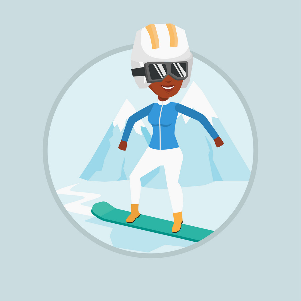 African woman snowboarding on the background of mountain. Snowboarder on piste in mountains. Woman snowboarding in the mountains. Vector flat design illustration in the circle isolated on background