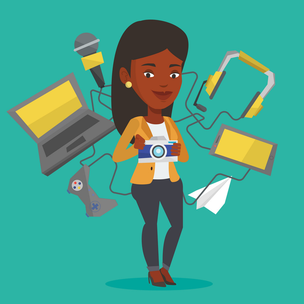 African woman taking photo with digital camera. Woman surrounded with gadgets. Woman using many electronic gadgets. Girl addicted to modern gadgets. Vector flat design illustration. Square layout.