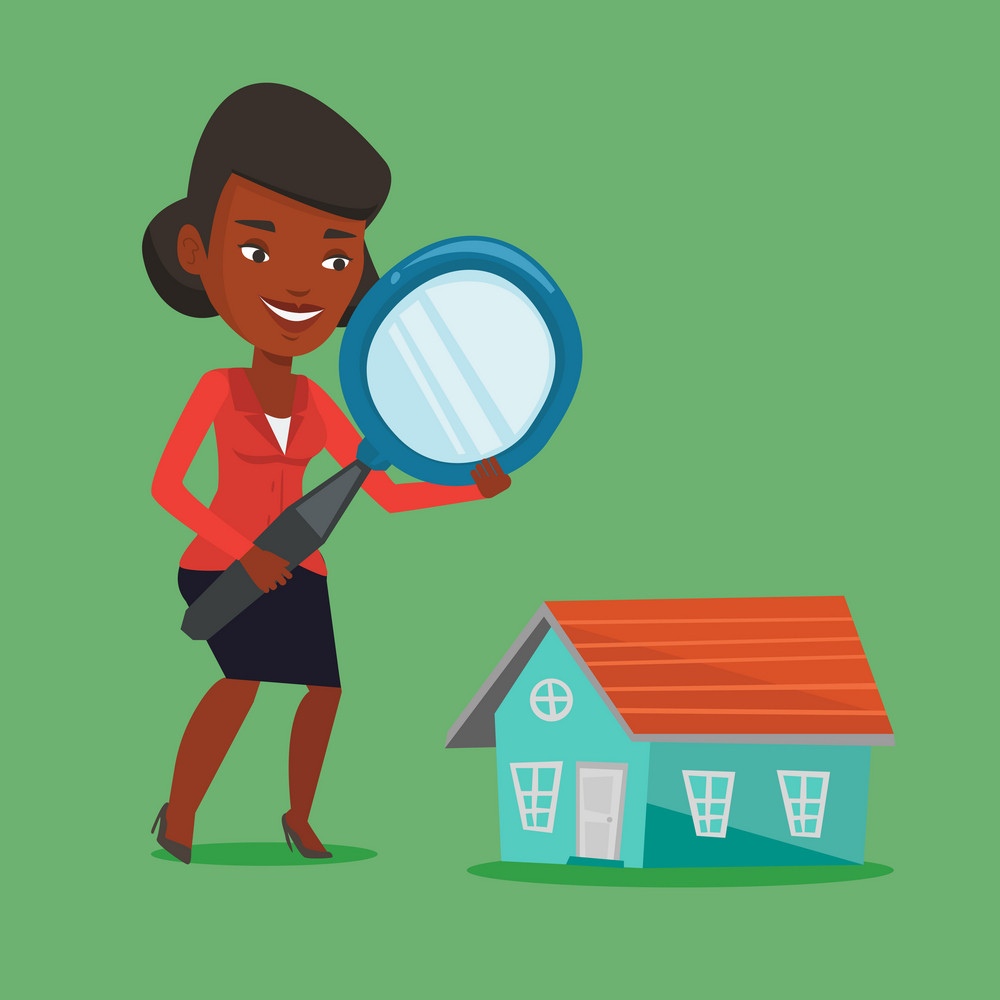 African woman using a magnifying glass for looking for a new house. Woman with a magnifying glass checking a house. Woman analyzing house with loupe. Vector flat design illustration. Square layout.