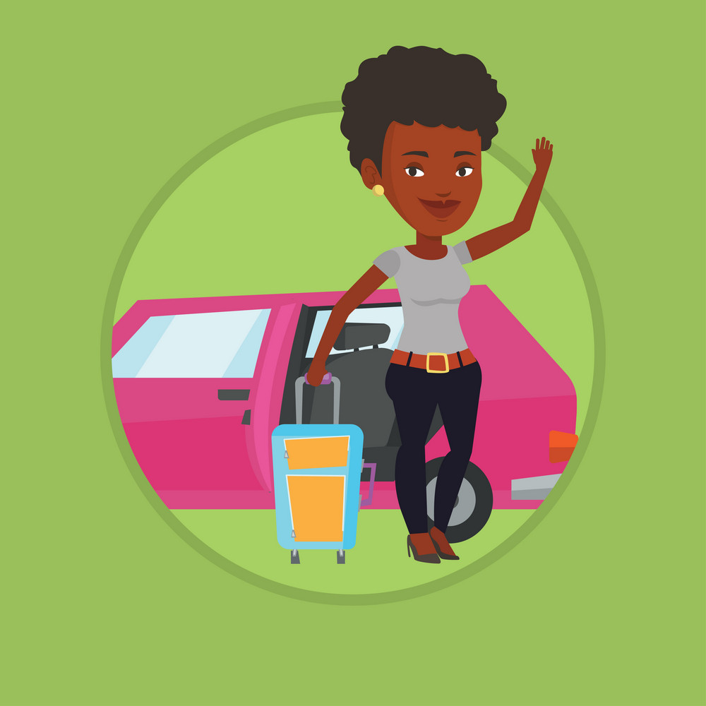 African woman waving in front of car. Woman with suitcase standing on the background of open car door. Woman going to vacation by car. Vector flat design illustration in circle isolated on background.
