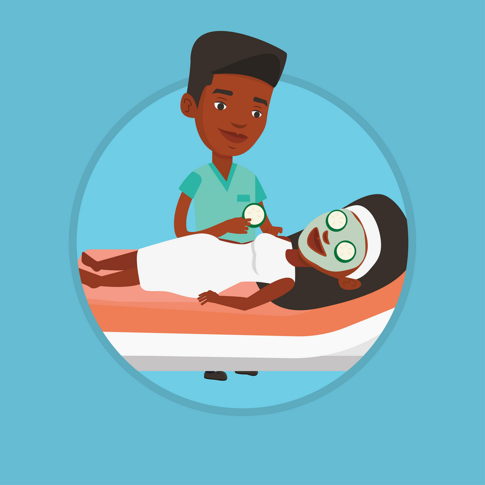 African woman with face mask relaxing in beauty salon. Cosmetologist applying cosmetic mask on face of woman in beauty salon. Vector flat design illustration in the circle isolated on background.