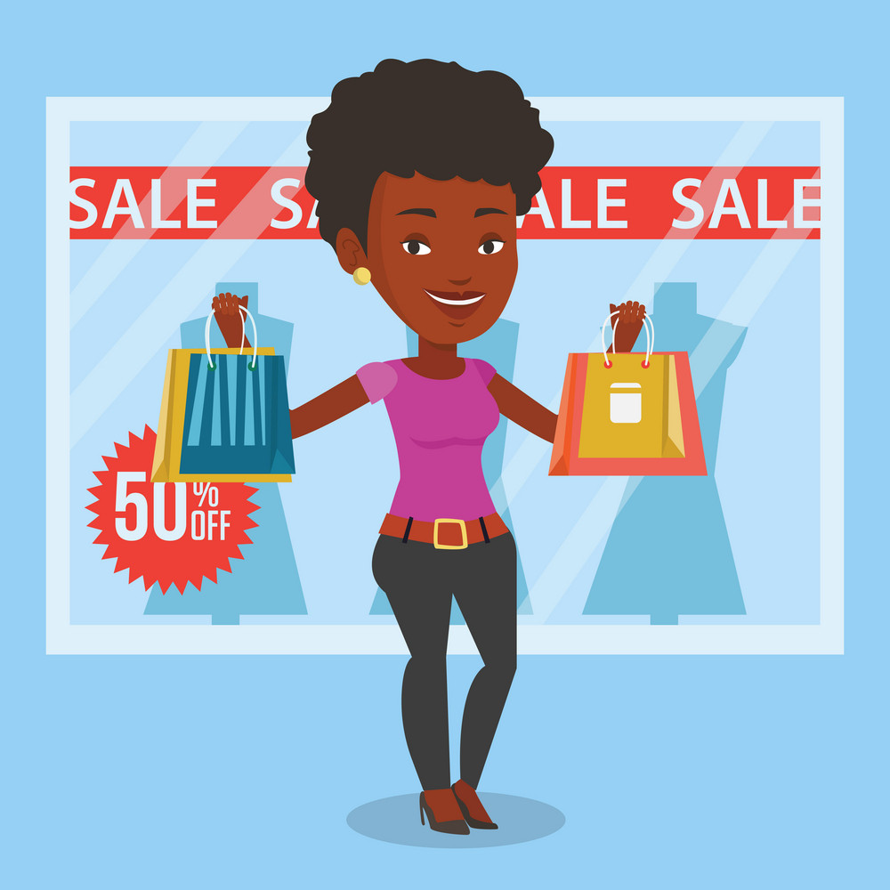 African woman with shopping bags standing in front of clothes shop with sale sign. Woman holding shopping bags in front of storefront with text sale. Vector flat design illustration. Square layout.