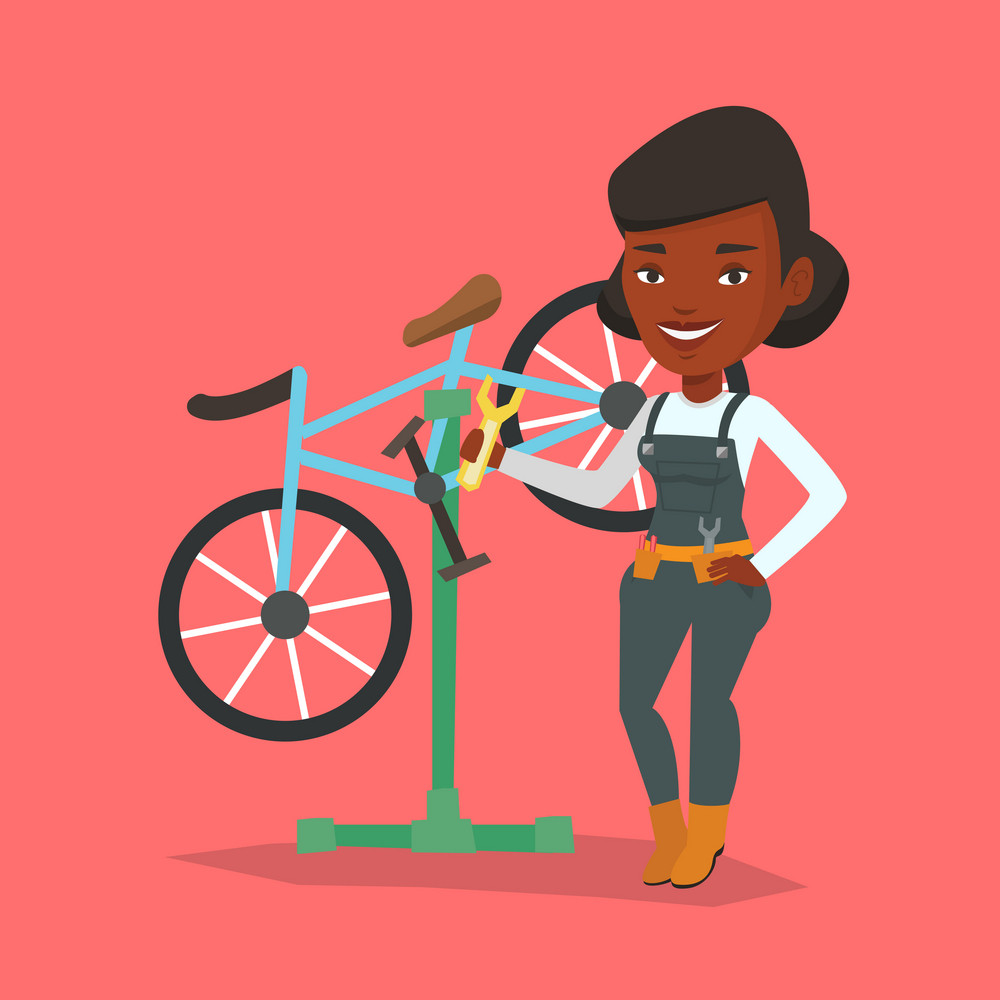 African woman working in bike workshop. Technician fixing bicycle in repair shop. Bicycle mechanic repairing bicycle. Woman installing spare part bike. Vector flat design illustration. Square layout