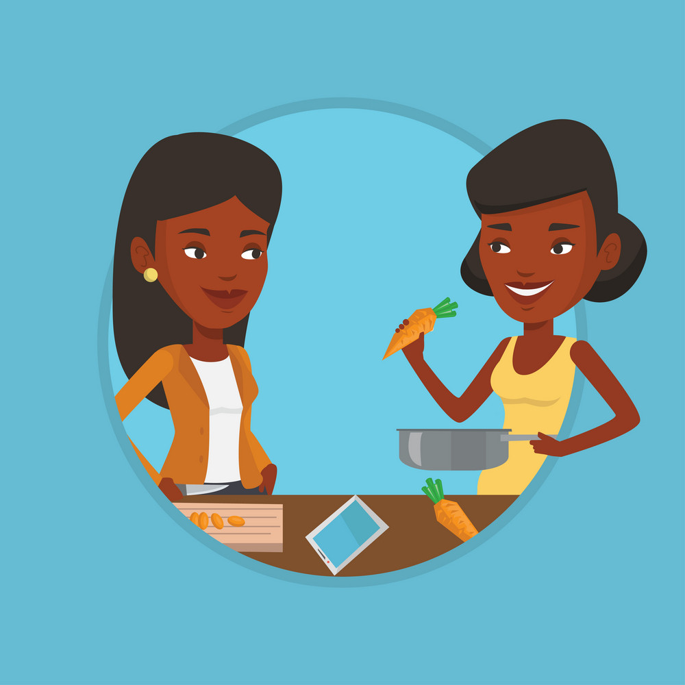 African women cooking healthy vegetable meal. Women having fun while cooking together healthy meal. Women preparing healthy meal. Vector flat design illustration in the circle isolated on background.