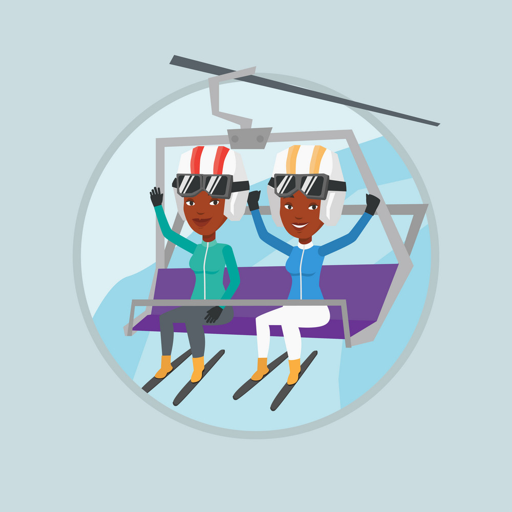 African women sitting on ski elevator. Skiers using cableway at ski resort. Skiers on cableway in mountains at winter sport resort. Vector flat design illustration in the circle isolated on background