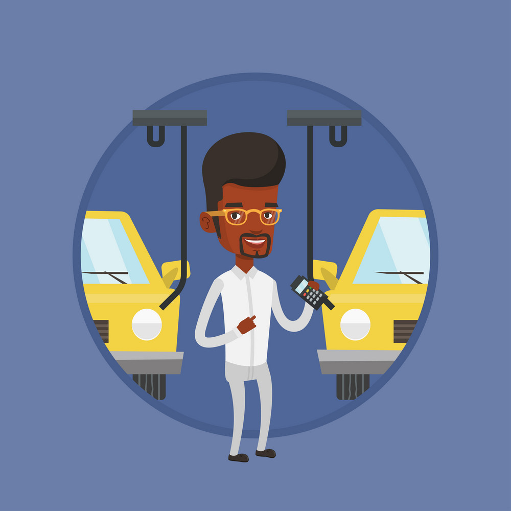 African worker of car factory. Engineer at work on car factory. Man controlling automated assembly line for cars. Car production. Vector flat design illustration in the circle isolated on background.