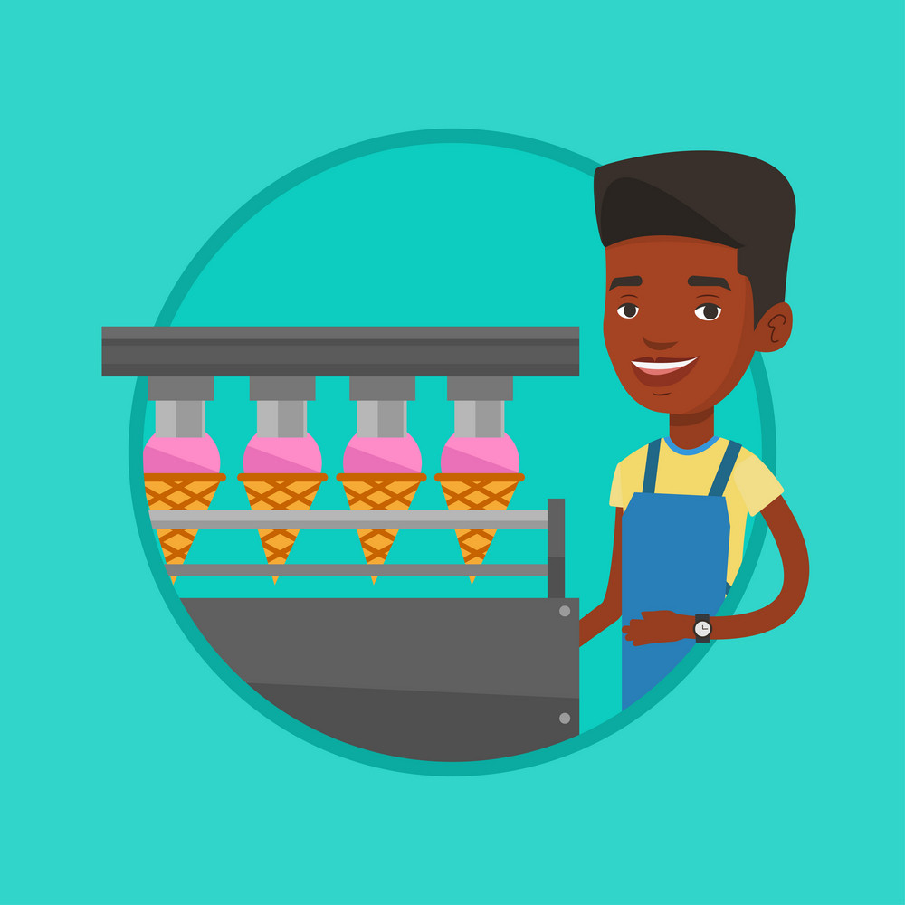 African worker of ice cream manufacture. Worker of factory producing ice-cream. Young man working on production line of ice cream. Vector flat design illustration in the circle isolated on background.