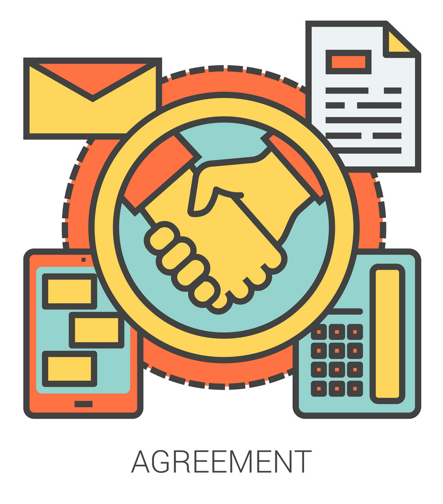 Agreement infographic metaphor with line icons. Project agreement concept for website and infographics. Vector line art icon isolated on white background.
