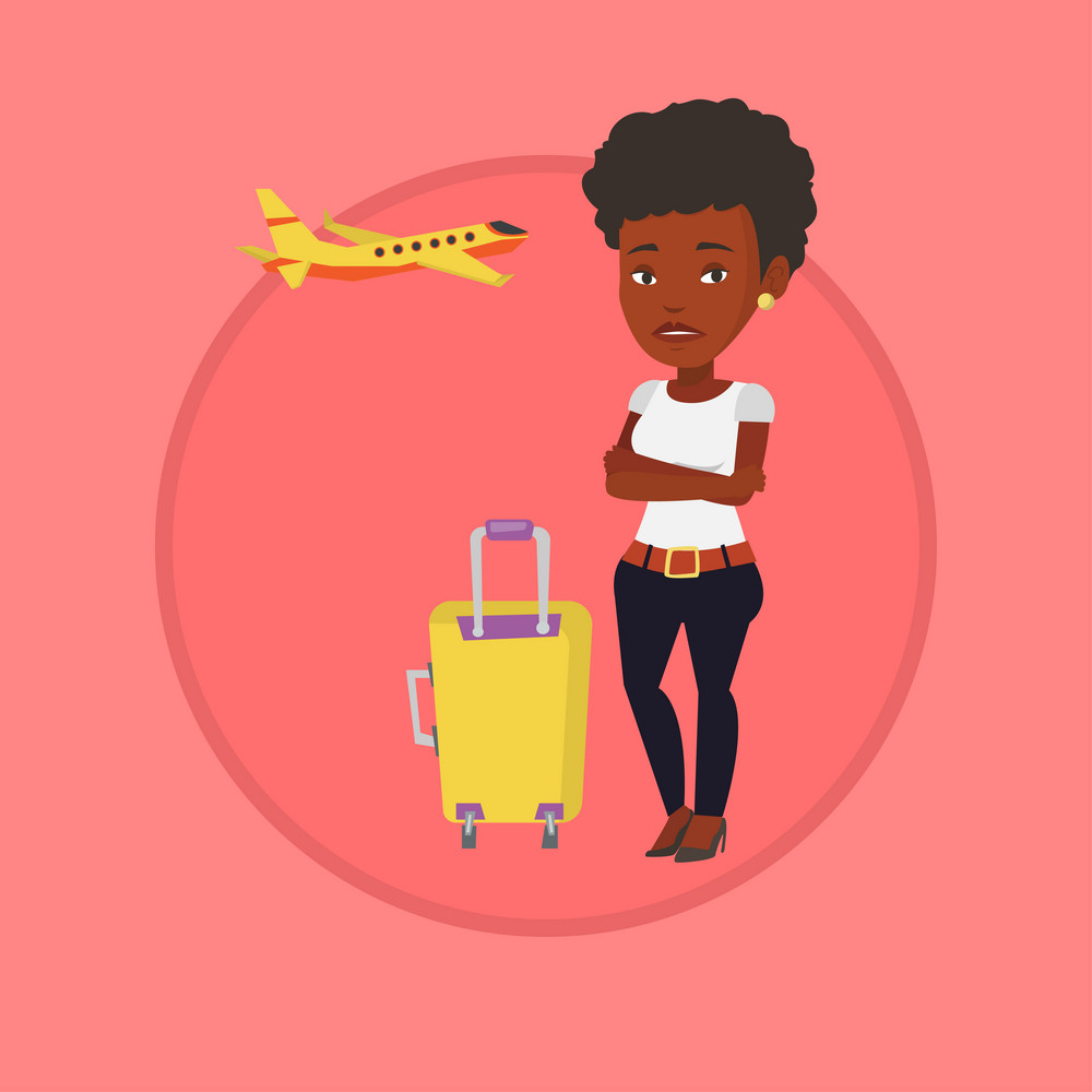 Airplane passenger frightened by future flight. Woman suffering from fear of flying. Terrified passenger waiting for a flight. Vector flat design illustration in the circle isolated on background.