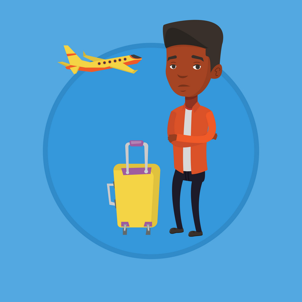 Airplane passenger frightened by future flight. Young man suffering from fear of flying. Terrified passenger waiting for a flight. Vector flat design illustration in the circle isolated on background.