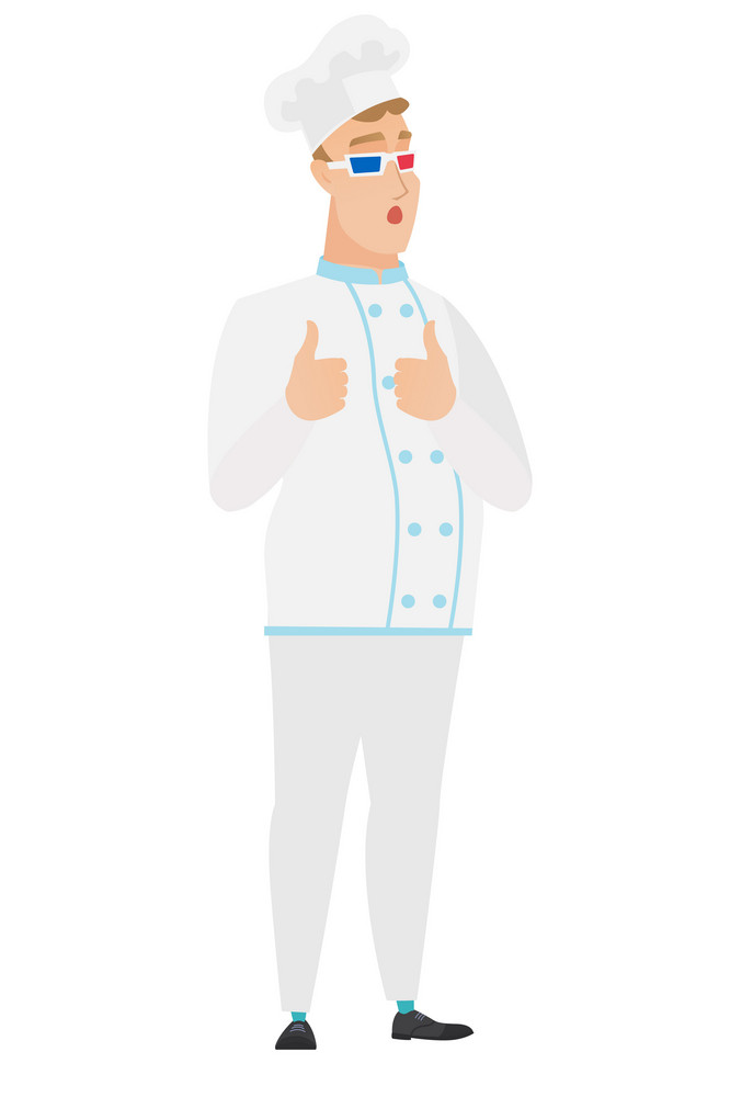 Amazed caucasian chef cook watching movie in 3D glasses. Full length of surprised chef cook wearing 3d glasses and giving thumbs up. Vector flat design illustration isolated on white background.