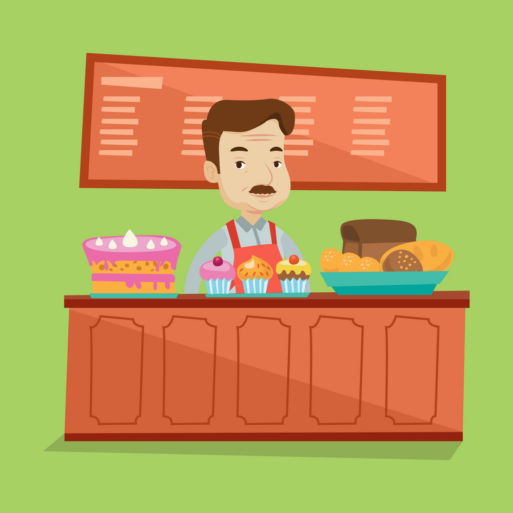 An adult bakery worker offering different pastry. A bakery worker standing behind the counter with cakes at the bakery. Man working at sweet-shop. Vector flat design illustration. Square layout.