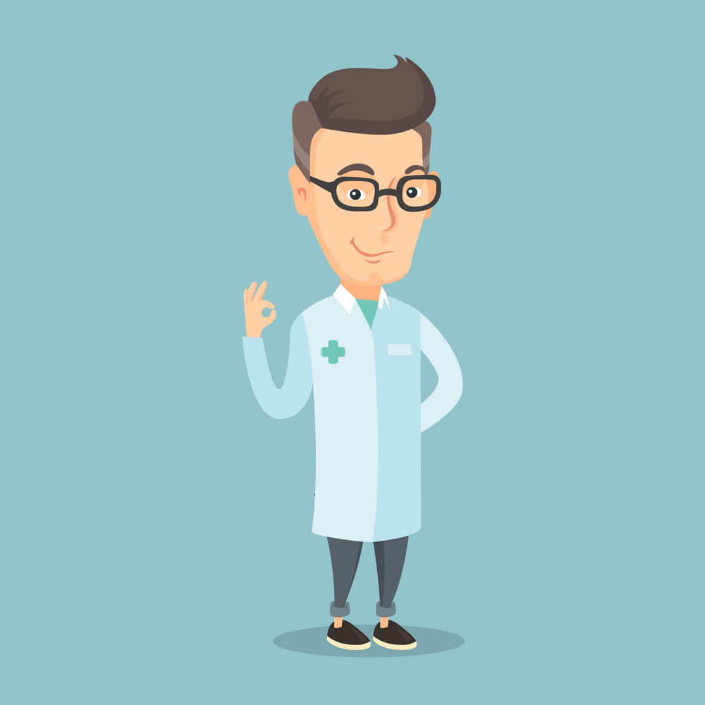 An adult caucasian doctor with ok sign gesture. Happy doctor in medical gown showing ok sign. Smiling doctor gesturing ok sign. Vector flat design illustration. Square layout.