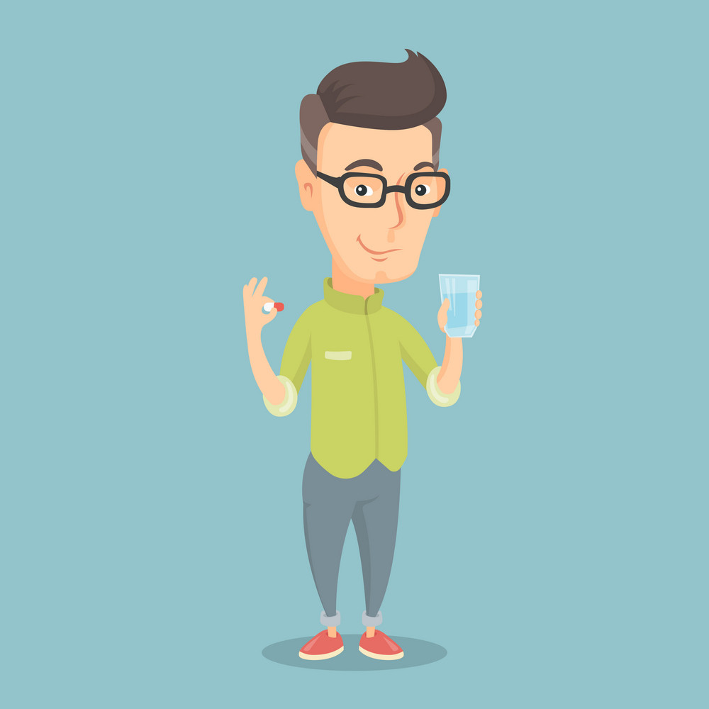An adult caucasian man taking pills. Healthy man holding pills and glass of water in hands. Happy smiling man taking pills. Healthy lifestyle concept. Vector flat design illustration. Square layout.