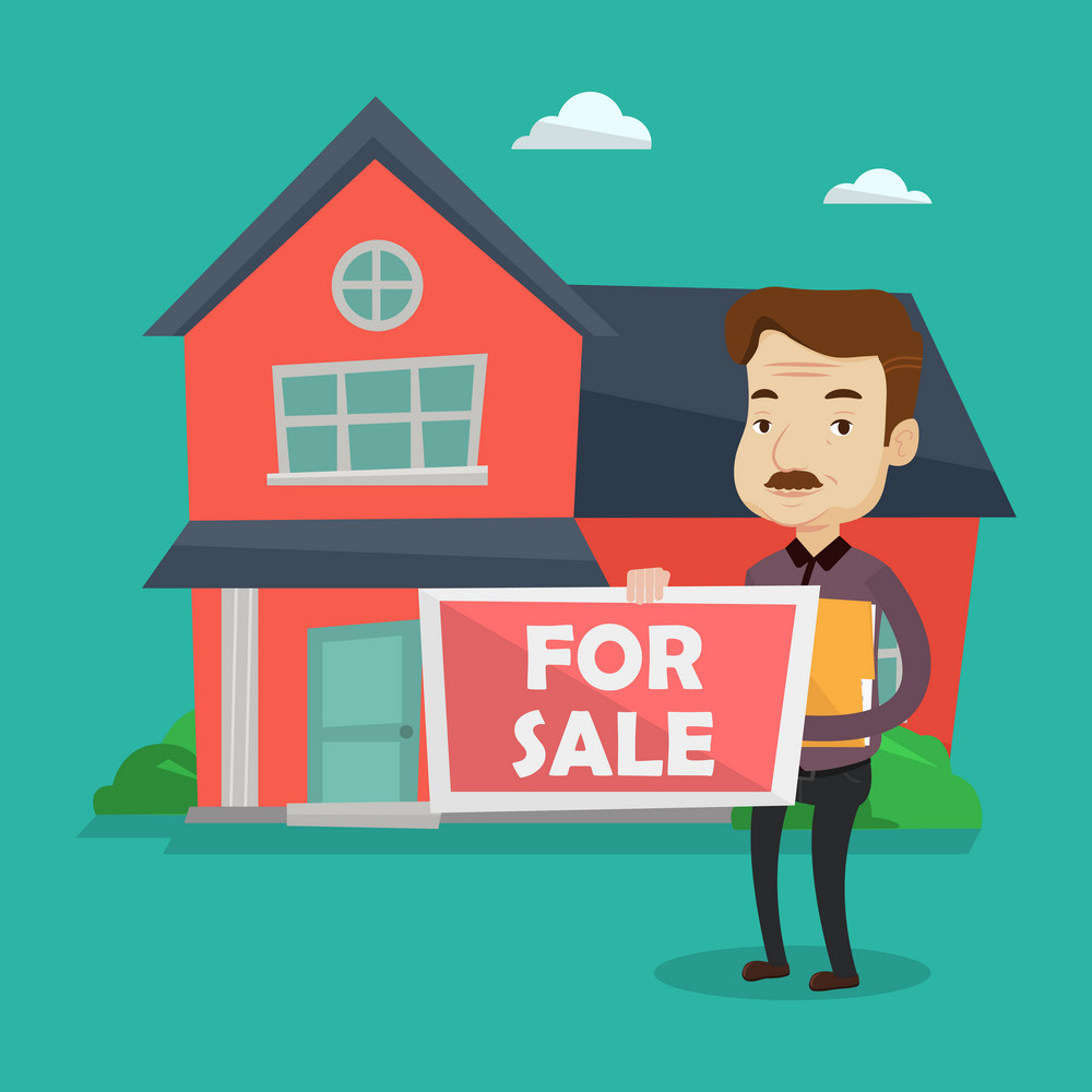 An adult confident real estate agent offering the house. Male broker with placard for sale and documents in hands standing on a background of the house. Vector flat design illustration. Square layout.