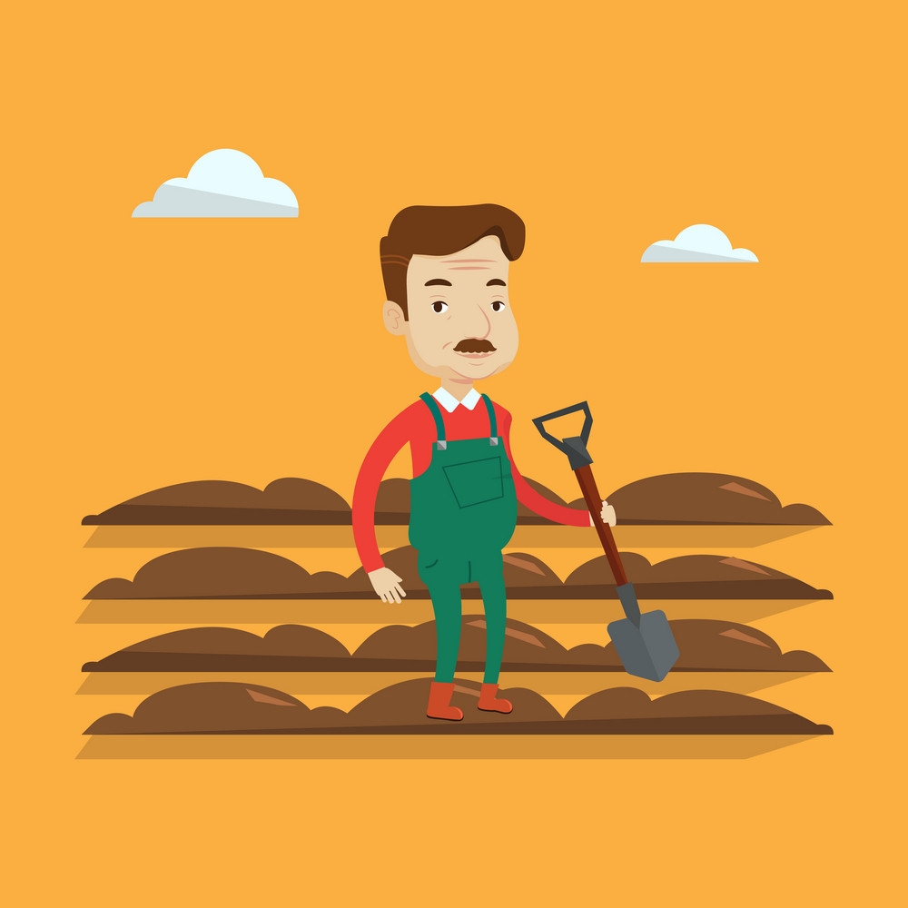 An adult farmer standing with a shovel on the background of plowed field. Smiling man holding agricultural tool and working in field. A man plowing a field. Vector flat design illustration. Square layout.