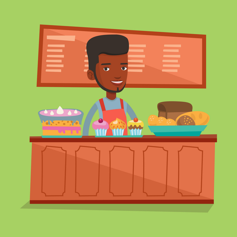 An african-american bakery worker offering pastry. Young smiling bakery worker standing behind the counter with cakes. Man working at the bakery. Vector flat design illustration. Square layout.