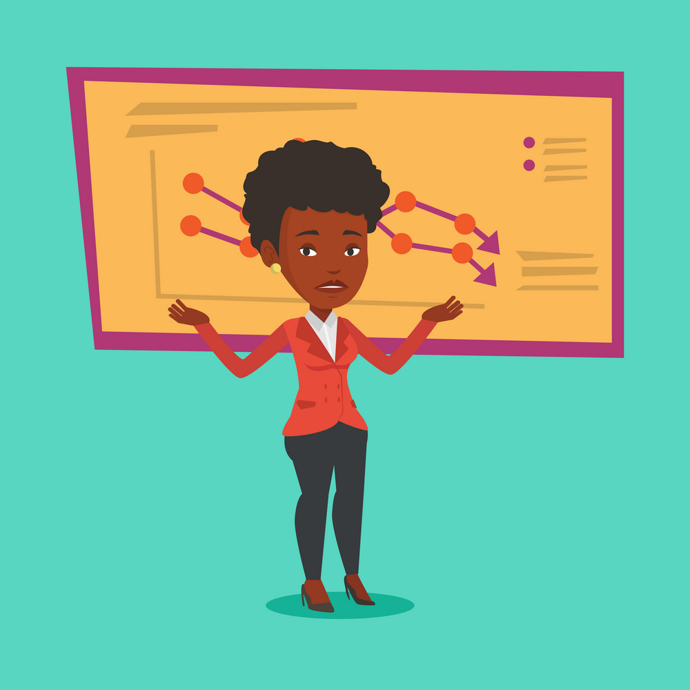 An african-american bancrupt standing on the background of decreasing chart. Young bancrupt business woman with spread arms. Business bankruptcy concept.Vector flat design illustration. Square layout.