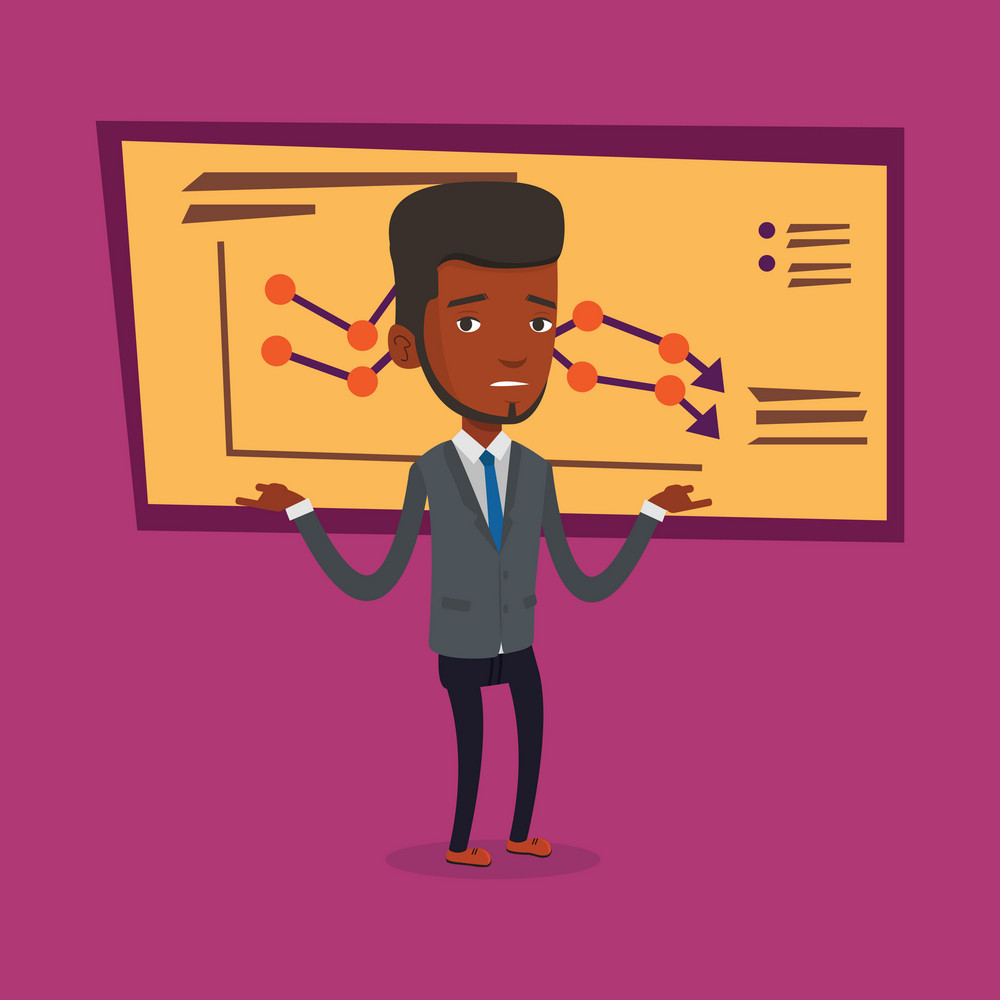An african-american bancrupt standing on the background of decreasing chart. Young bancrupt businessman with spread arms. Business bankruptcy concept. Vector flat design illustration. Square layout.
