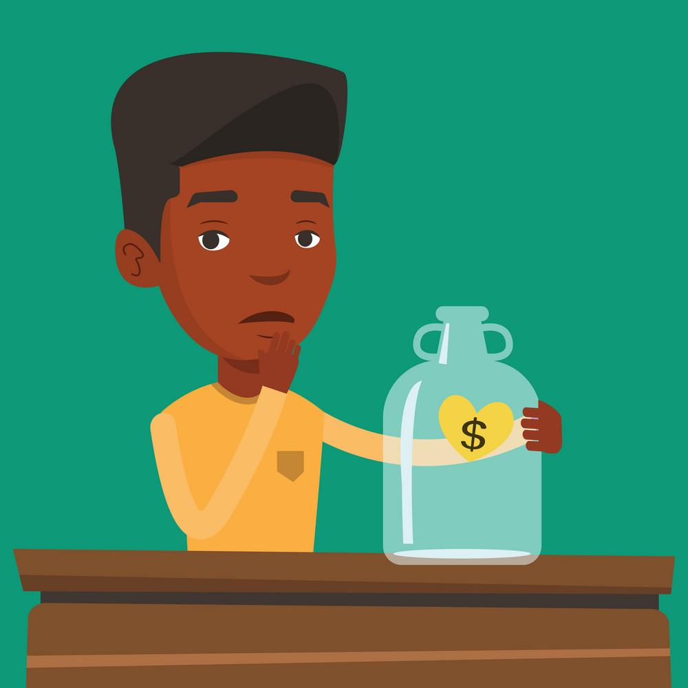 An african-american bankrupt businessman looking at empty money box. Desperate bankrupt sitting at the table with empty money box. Bankruptcy concept. Vector flat design illustration. Square layout.
